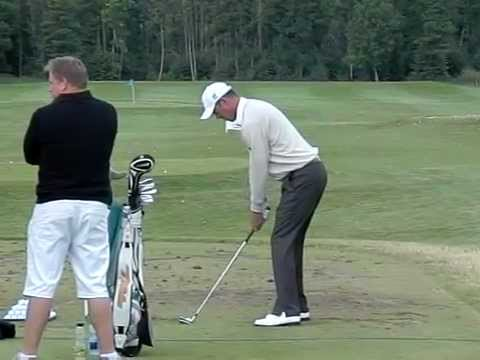 Richard Green Golf Swing Down the Line in Slow Motion (Left Handed)