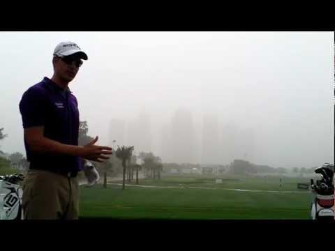 Henrik Stenson during a windy Golf clinic on the driving range at Emirates Golf Club Dubai