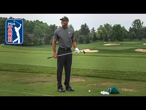 Tiger Woods' range session for the Memorial Tournament pro-am 2019