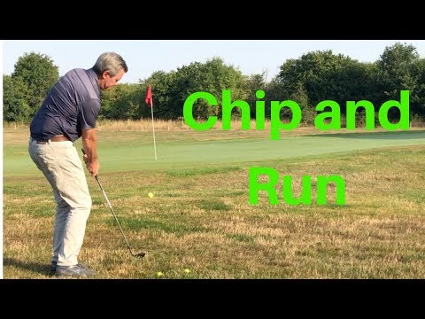 How to hit a Chip and run golf shot with a Sand Wedge.