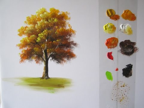 How to Paint a Tree in Acrylics lesson 1