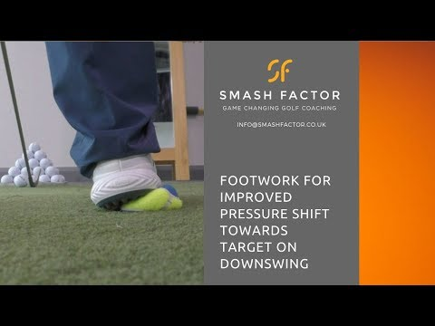 Initiate golf down swing with CORRECT FOOTWORK & PRESSURE shift in feet