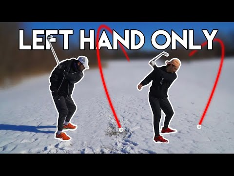 Playing Golf Left Arm Only (IN THE SNOW) | 3 Hole Challenge