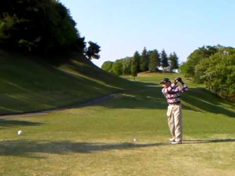 174 golf swing left handed No.15 490Y Par5 Intentional Slice Ball
