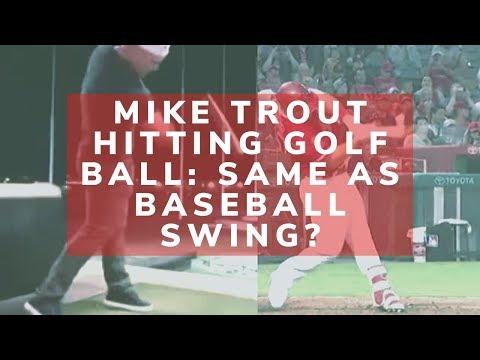 Mike Trout Hitting Golf Ball 💣💥: Same As Baseball Swing?