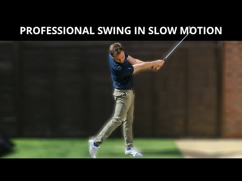 THE PROFESSIONAL GOLF SWING IN SLOW MOTION DOWN THE LINE CAMERA WEDGES, IRONS, FAIRWAY AND DRIVER
