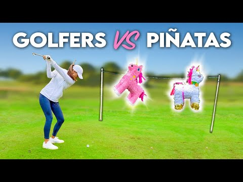 Smashing Piñatas with STINGER GOLF SHOTS | Annabel Dimmock and Peter Finch