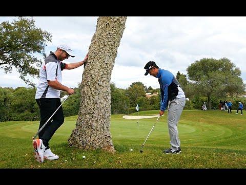 Left handed behind the tree challenge VS Tour Pro Daniel Im