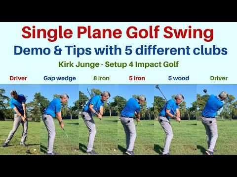 Single Plane golf swing Demonstration with 5 clubs. Setup 4 Impact Golf!