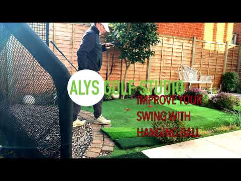 Improve your golf swing with hanging ball