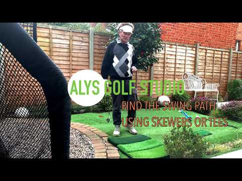 Find good impact point and swing path using skewers or tees