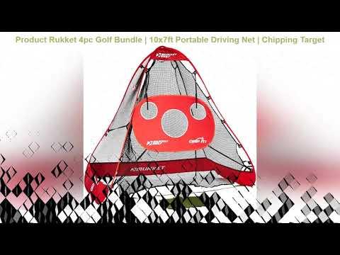 Rukket 4pc Golf Bundle   10x7ft Portable Driving Net   Chipping Target   Tri-Turf Hitting Mat   Car