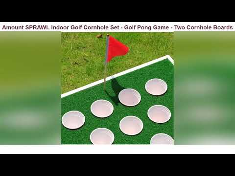 SPRAWL Indoor Golf Cornhole Set – Golf Pong Game – Two Cornhole Boards and Two Chipping Mats – Exci