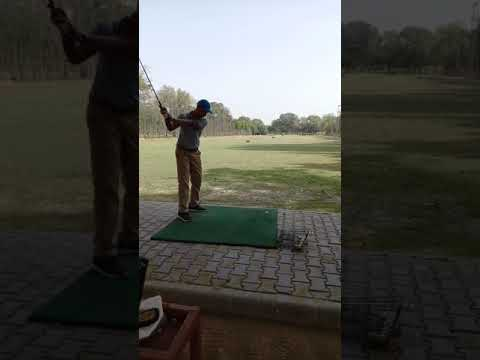Golfing in the driving range…