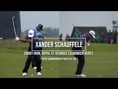 Xander Schauffele Golf Swing Short Iron (DTL & FO views) Royal St George's (Sandwich) July, 2021.