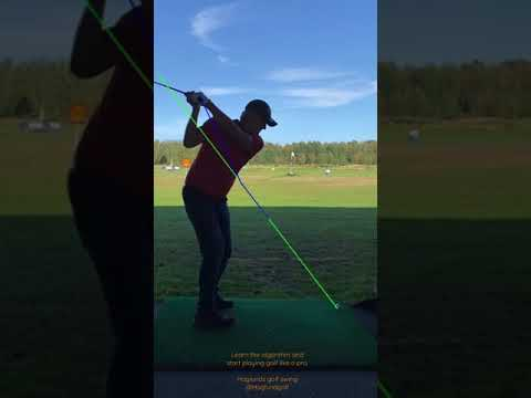 Haglunds golf swing. Single plane swing motion without wrist rotation. Swing path of the grip end.