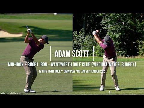 Adam Scott Golf Swing Mid & Short Iron (DTL & FO views) Wentworth Golf Club (Surrey) September 2021.
